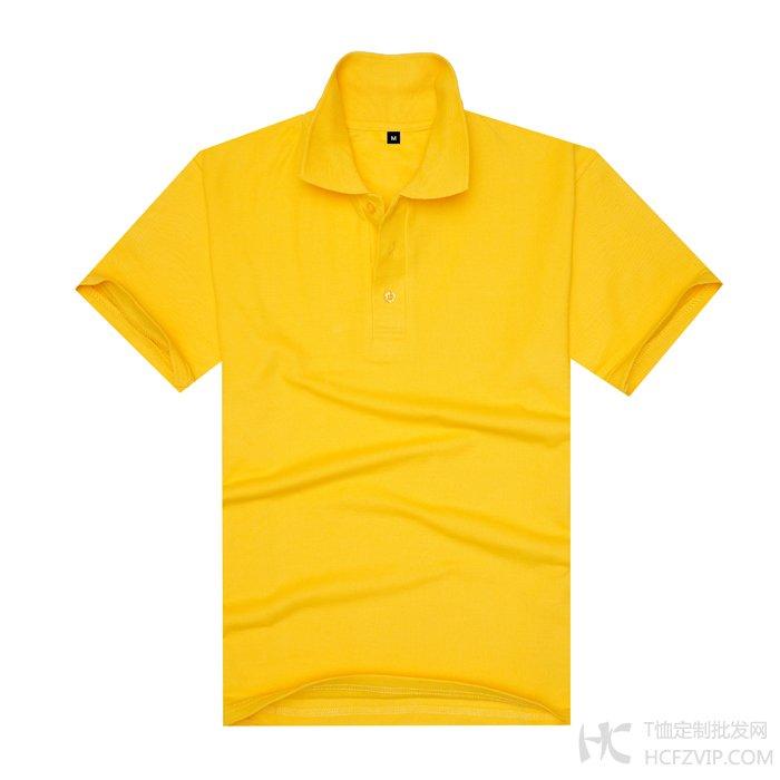 大黄色珠地网眼棉翻领T恤衫