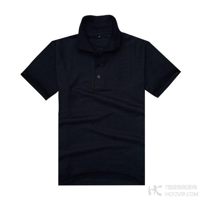 黑色珠地网眼棉翻领T恤衫
