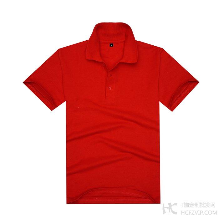 红色珠地网眼棉翻领T恤衫