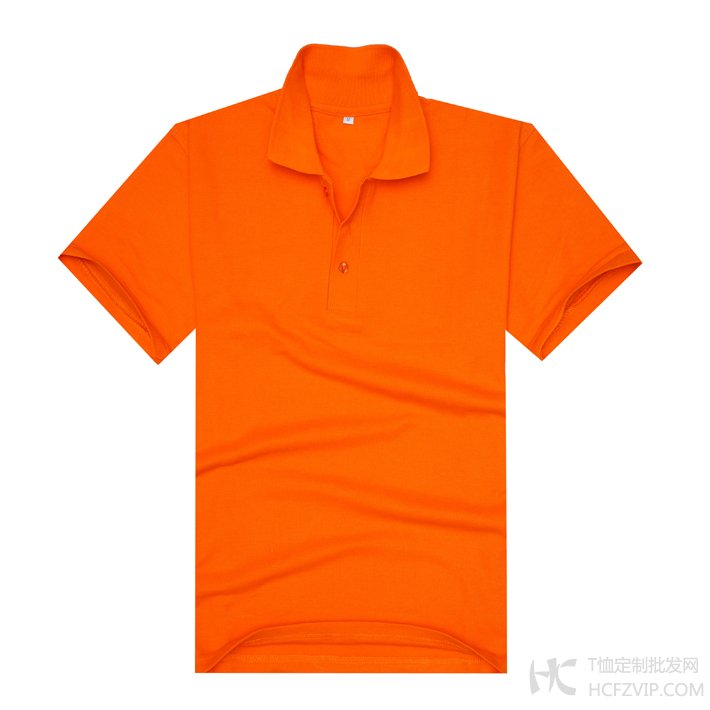 橘黄色珠地网眼棉翻领T恤衫