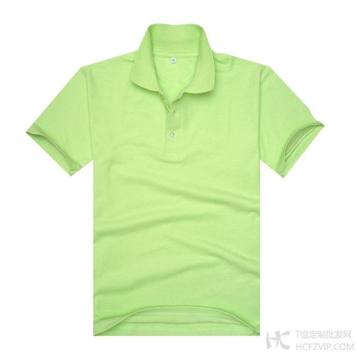 果绿色珠地网眼棉翻领T恤衫