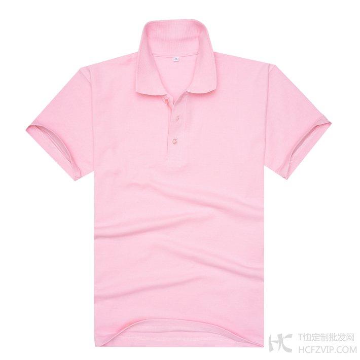 粉色珠地网眼棉翻领T恤衫