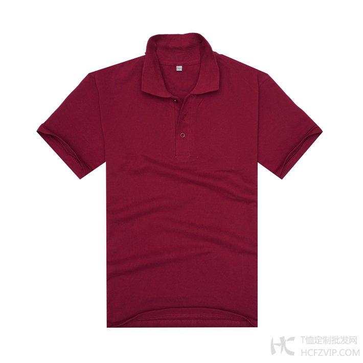 酒红色珠地网眼棉翻领T恤衫