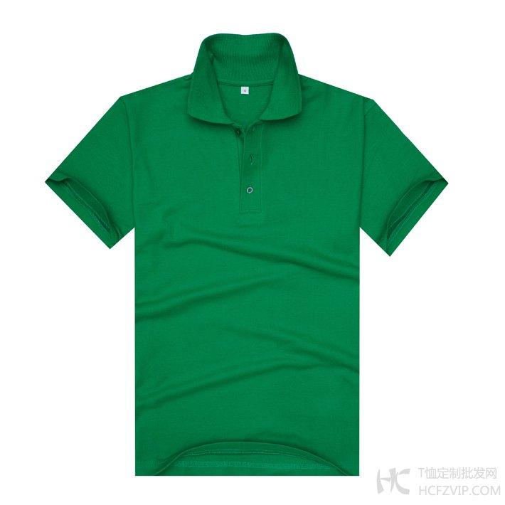 草绿色珠地网眼棉翻领T恤衫