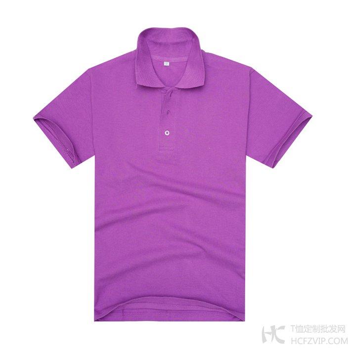 紫色珠地网眼棉翻领T恤衫