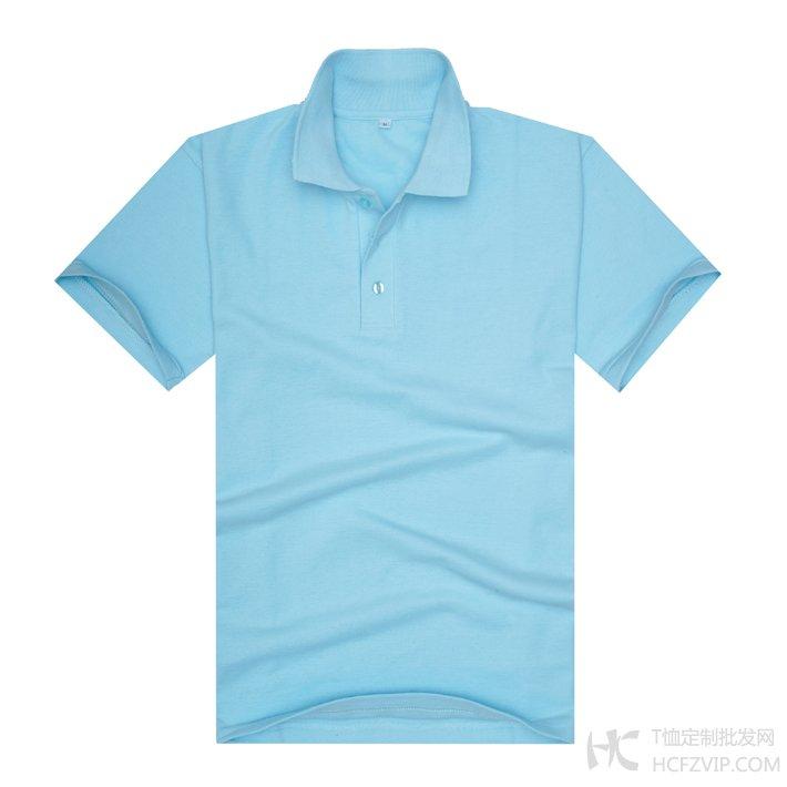 浅蓝色珠地网眼棉翻领T恤衫