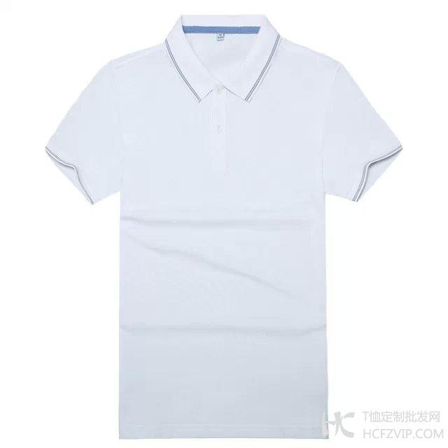 白色竹炭纤维翻领广告衫