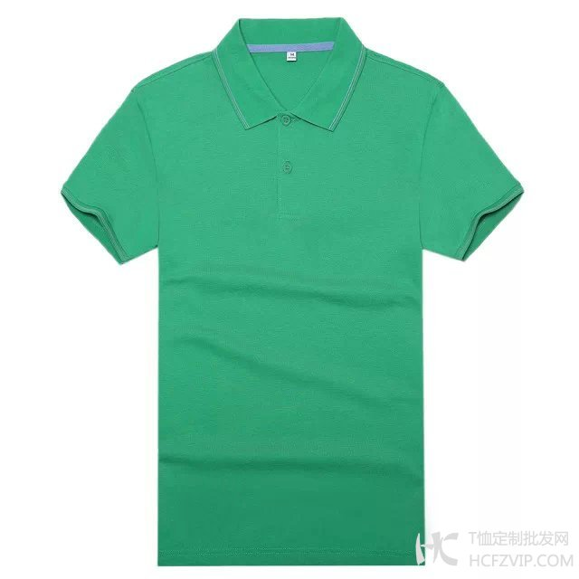 翠绿色竹炭纤维翻领广告衫