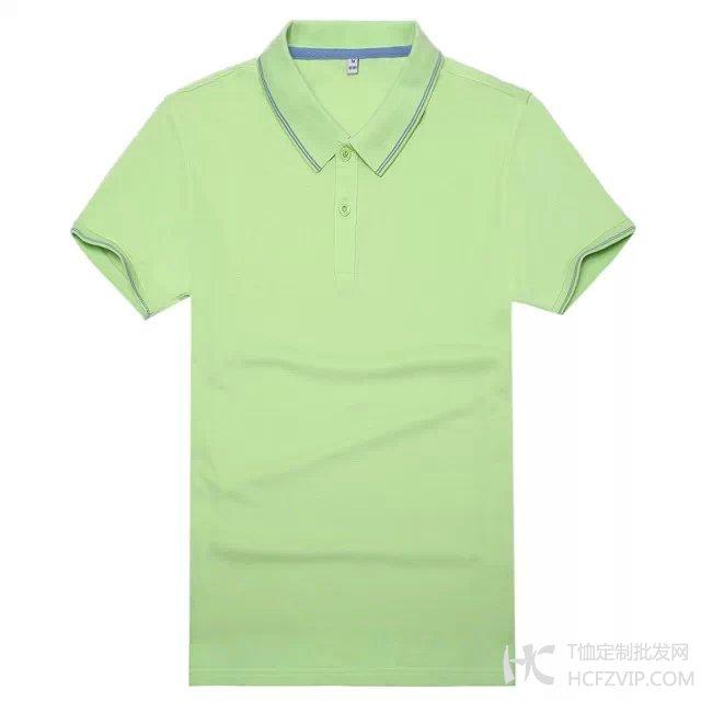 果绿色竹炭纤维翻领广告衫
