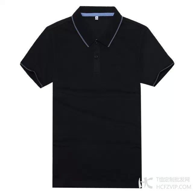 黑色竹炭纤维翻领广告衫