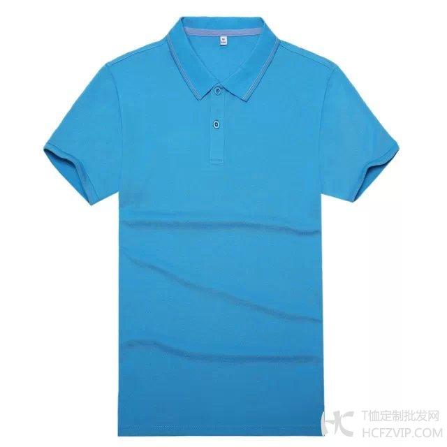 湖蓝色竹炭纤维翻领广告衫