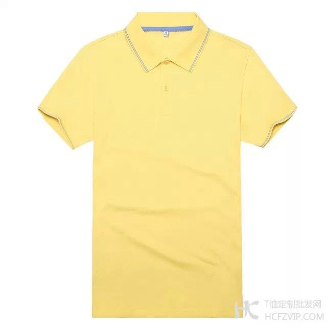 黄色竹炭纤维翻领广告衫