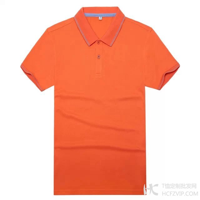 橘色竹炭纤维翻领广告衫